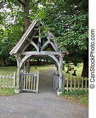 oud, gewelfd, poort, in, een, kerk, graveyard