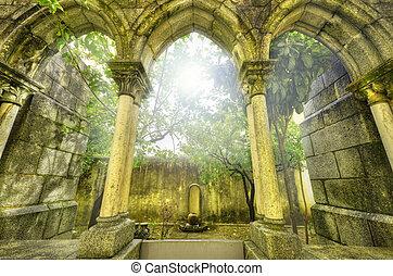 oud, gotisch, aartsen, in, de, myst., fantasie, landscape, in, evora, portugal.