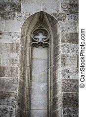 oud, gotisch, venster, spaanse , stad, van, valencia,...