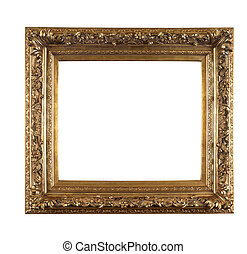oud, gouden, frame, op wit, achtergrond