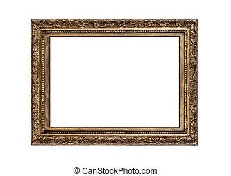 oud, gouden, frame.