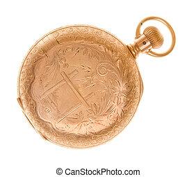oud, gouden horloge, vrijstaand, zak, fashioned, sierlijk
