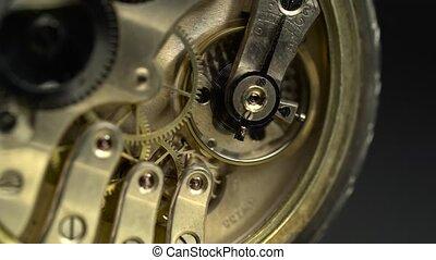 oud, gouden, klokken samenstel van bewegende delen, working., dichtbegroeid boven