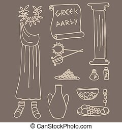 oud, griekse , ideeën, communie, griekenland, feestje