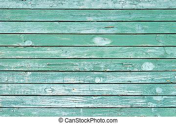 oud, groene, geverfde, hout, muur, -, textuur, of, achtergrond