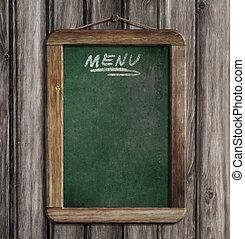 oud, groene, menu, bord, hangend, houten muur