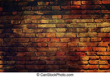 oud, grunge, baksteen muur
