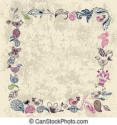 oud, grunge, frame, met, bloemen, en, vogels