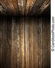oud, grunge, hout, muur, en, plafond