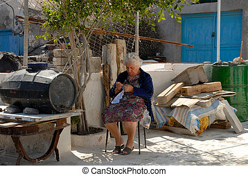 oud, haar, woning, griekenland, voorkant, breiwerk, dame