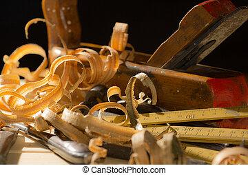 oud, hamer, houten, workshop, beitel, hout, achtergrond, tools:, woodworks, planer, meubelmakerij