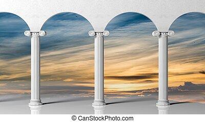 oud, hemel, drie, pijlers, achtergrond., ondergaande zon