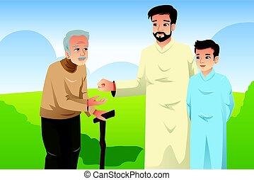 oud, het bezorgen geld, moslim, vader, zoon, man