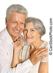 oud, het glimlachen, paar