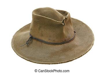 oud, hoedje, gehavend, cowboy