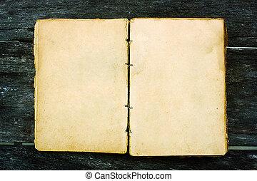 oud, hout, achtergrond, leeg, opengeslagen boek