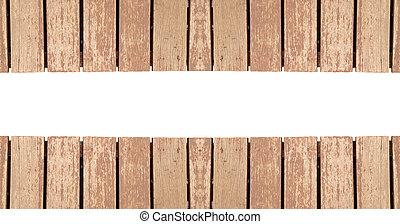 oud, hout, plank, vrijstaand, op wit, achtergrond