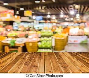 oud, hout samenstelling, met, verdoezelen, supermarkt, achtergrond