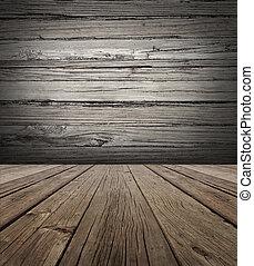 oud, hout, toneel, achtergrond