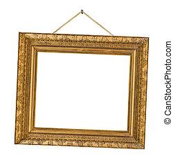 oud, houten afbeelding omlijsting, hangend, een, koord