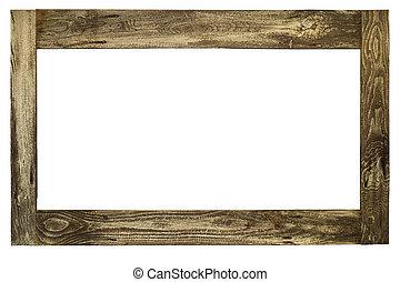oud, houten afbeelding omlijsting, met, knippend pad