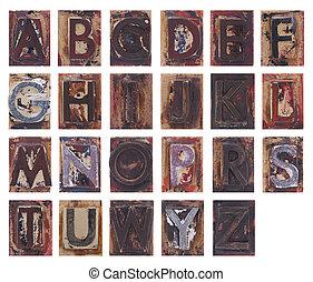 oud, houten, alfabet, brieven