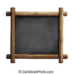 oud, houten, bord, frame, vrijstaand, chalkboard, of