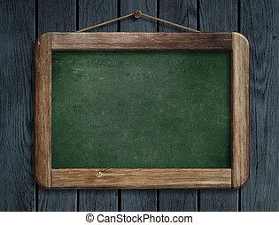 oud, houten, bord, hangend, muur, groene, menu