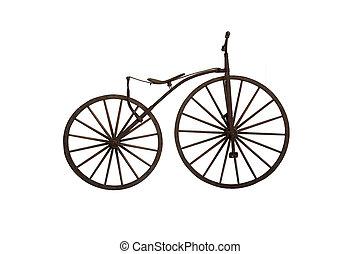 oud, houten, fiets, op wit, achtergrond
