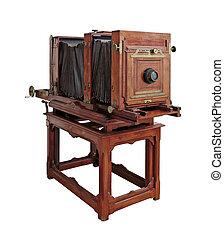 oud, houten, fototoestel, vrijstaand, op wit