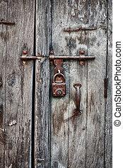 oud, houten huis, hangslot, roestige , deur