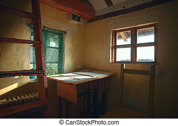 Interieur houten huis. houten walls. woning bed interieur details.