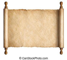 oud, houten, illustratie, boekrol, handvatten, perkament, 3d