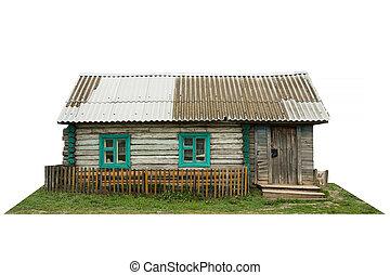 oud, houten, landelijk, woning, vrijstaand, op wit
