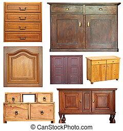 oud, houten, meubel, verzameling