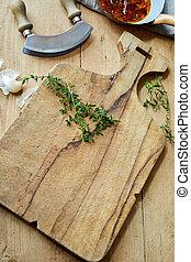 oud, houten, rustiek, keukenkruiden, het hakken plank