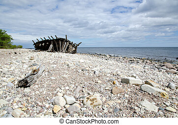oud, houten, schipbreuk, op, kust
