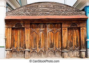 oud, houten, sierlijk, poort