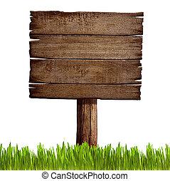 oud, houten teken, plank, met, gras, vrijstaand