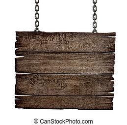 oud, houten teken, plank, op, ketting