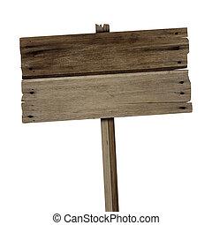 oud, houten teken, vrijstaand, op wit, achtergrond