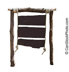 oud, houten teken, vrijstaand, op wit