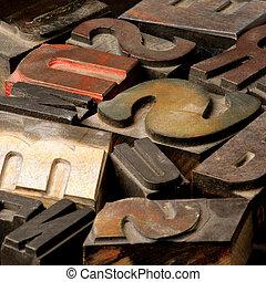 oud, houten, type, lett