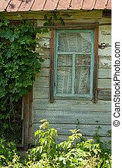oud, houten, venster