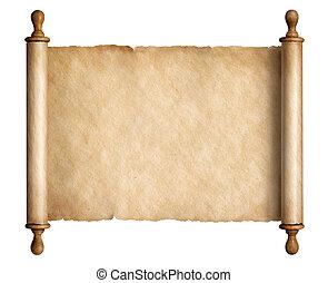 oud, houten, vrijstaand, illustratie, boekrol, handvatten, perkament, 3d