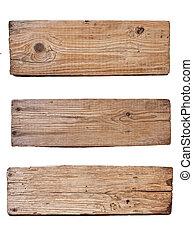 oud, houten, vrijstaand, plank, achtergrond, witte