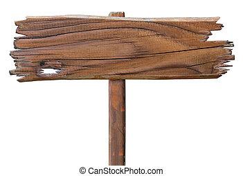 oud, houten, wegaanduiding, board., houten, schaaltje, vrijstaand, op, white.