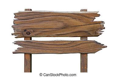 oud, houten, wegaanduiding, board., houten, schaaltje, vrijstaand, op wit, met