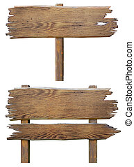 oud, houten, wegaanduiding, plank, set, vrijstaand, op wit