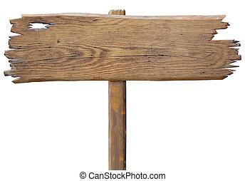 oud, houten, wegaanduiding, plank, vrijstaand, op wit